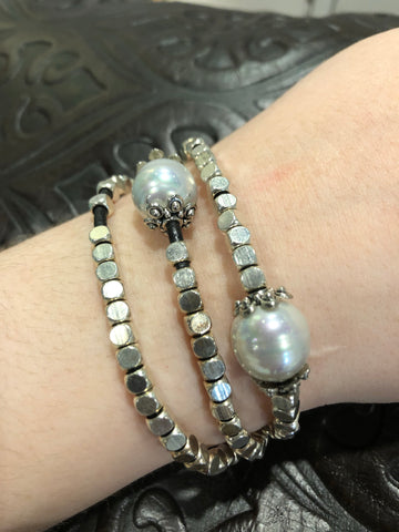 TRADES CULTURED PEARL AND LEATHER BRACELET