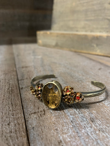 Mini Rose Cuff With Center Crystal By Barbosa