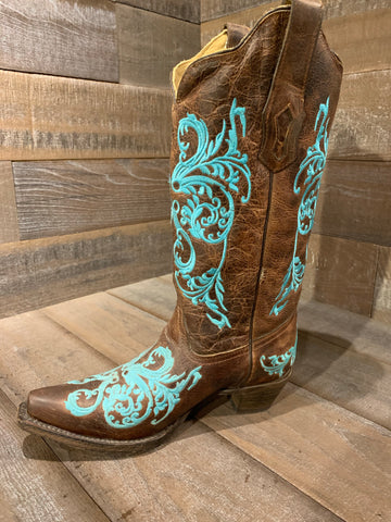 Corral Brown Turquoise Dahlia Embroidery- R1193