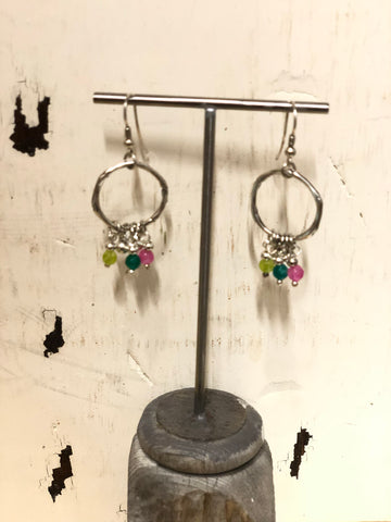 TRADES BY HAIM SHAHAR GLASS DROP BEADS ON HOOP EARRINGS