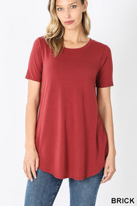 Short Sleeve Round Neck Top - aheadofthecurve-gifts