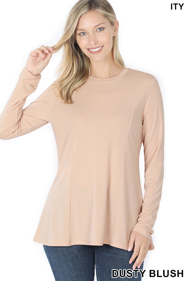 Long Sleeve Round Neck Top - aheadofthecurve-gifts