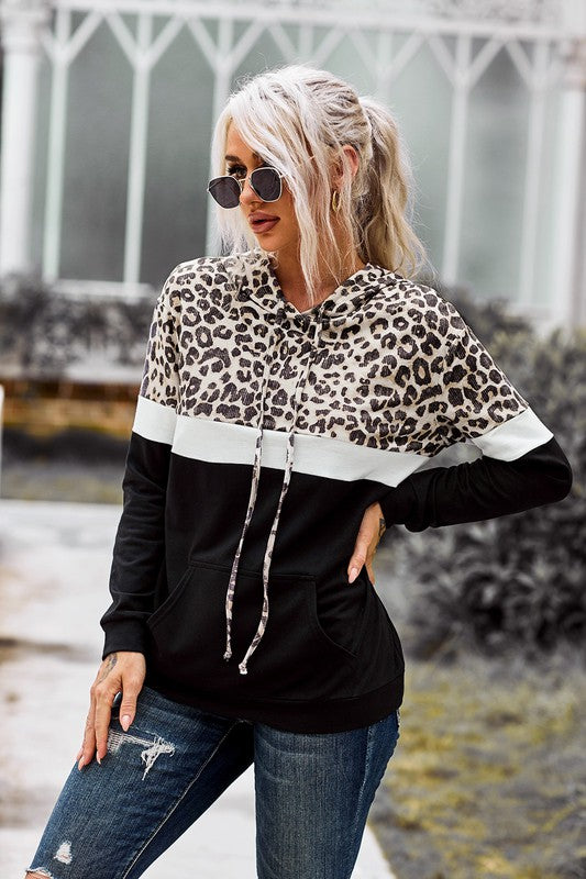 Leopard Color Block Hoodie - aheadofthecurve-gifts