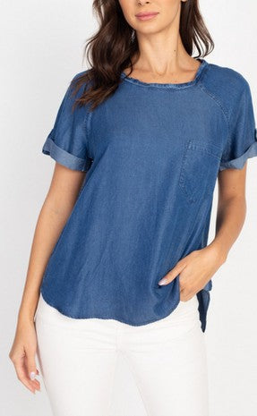 Roll-Up Denim Top - aheadofthecurve-gifts