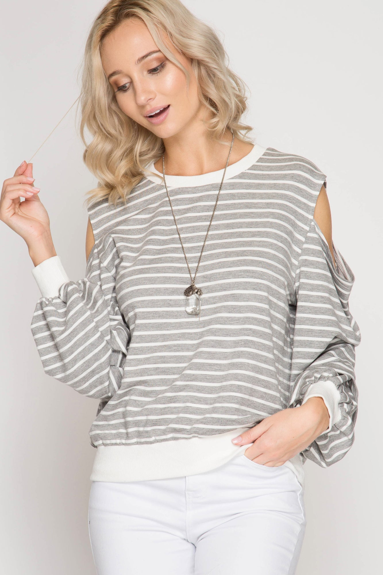 Cold Shoulder Grey Striped Top - aheadofthecurve-gifts