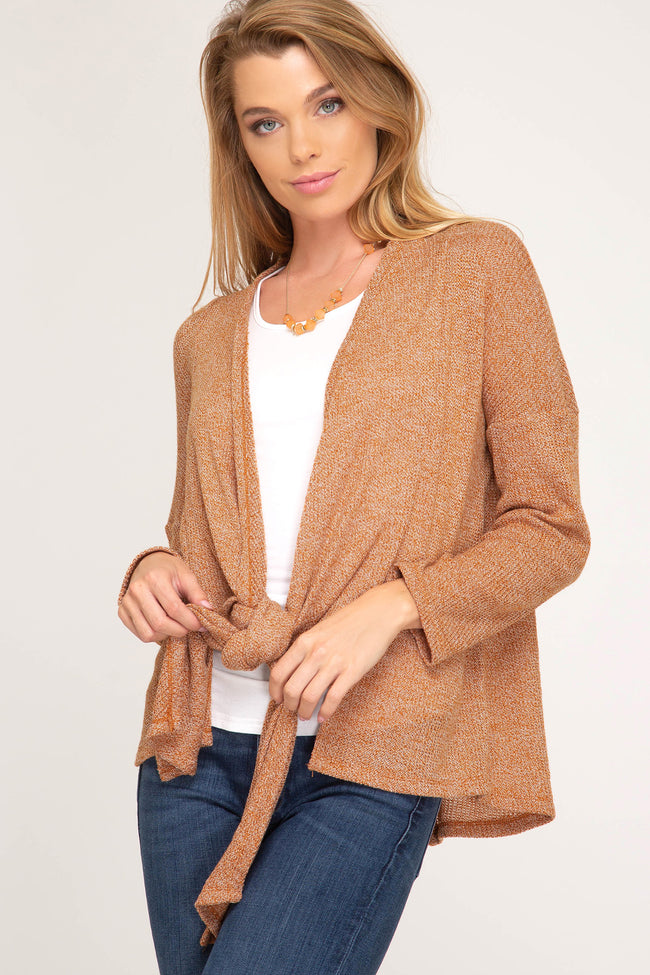Long Sleeve Knit Cardigan With Front Tie - aheadofthecurve-gifts