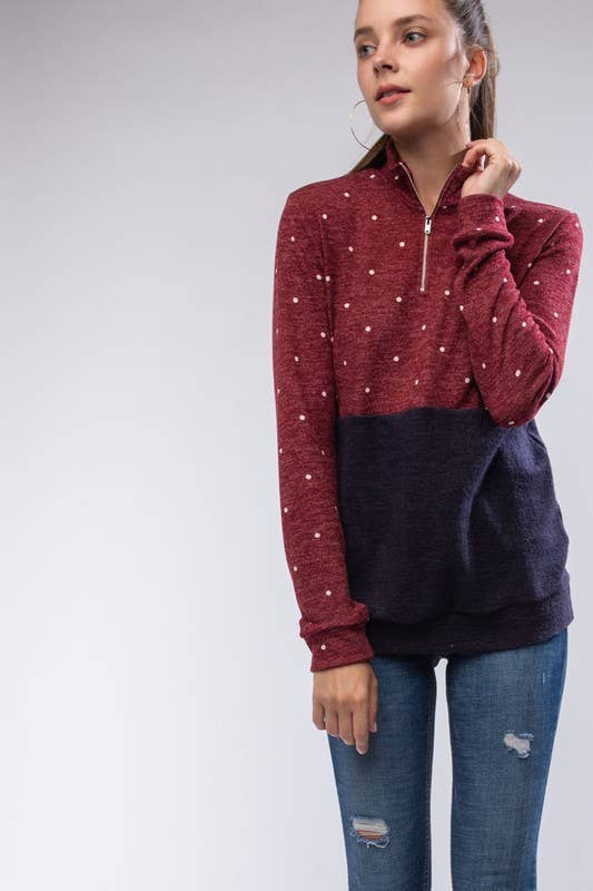 Quarter Zip Dot Pullover - aheadofthecurve-gifts