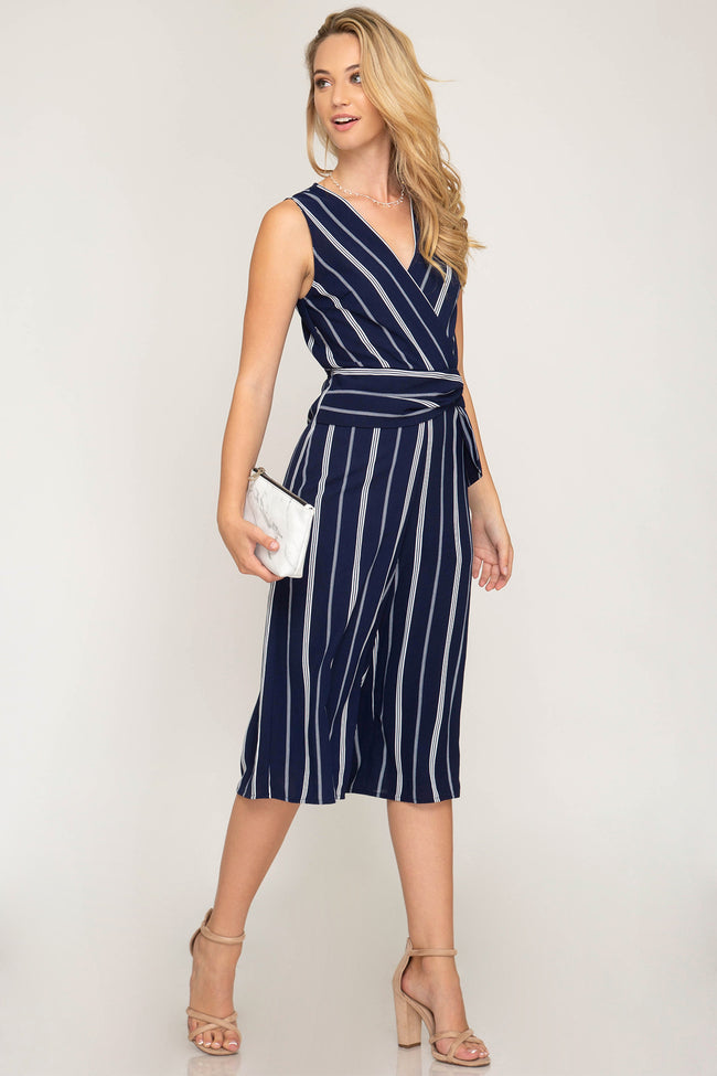 Sleeveless Striped Jumpsuit - aheadofthecurve-gifts