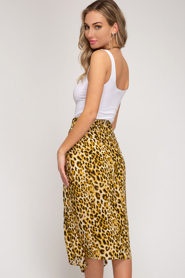 Animal Printed Woven Midi Skirt With Front Tie Detail - aheadofthecurve-gifts