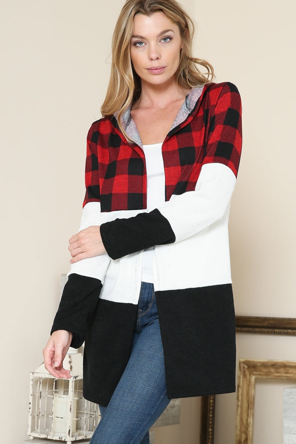 Buffalo Plaid Cardigan - aheadofthecurve-gifts