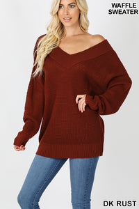 Waffle V-Neck Sweater - aheadofthecurve-gifts