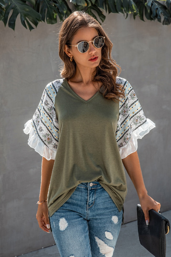 V-Neck Ruffle Top - aheadofthecurve-gifts