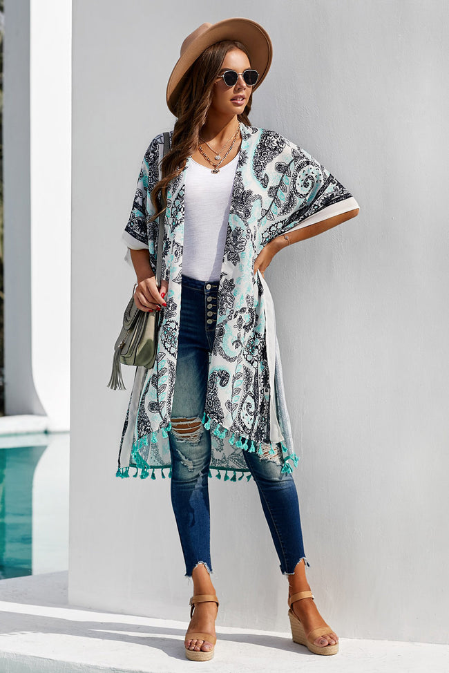 Print Kimono Beach Cover up - aheadofthecurve-gifts