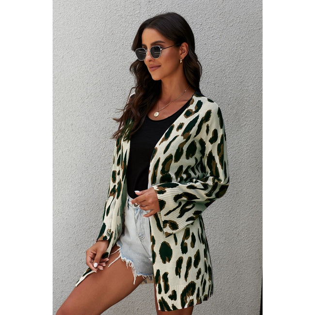 Leopard Print Cardigan - aheadofthecurve-gifts