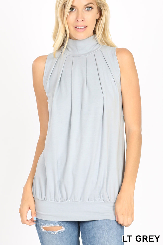 Pleated High Neck Top - aheadofthecurve-gifts