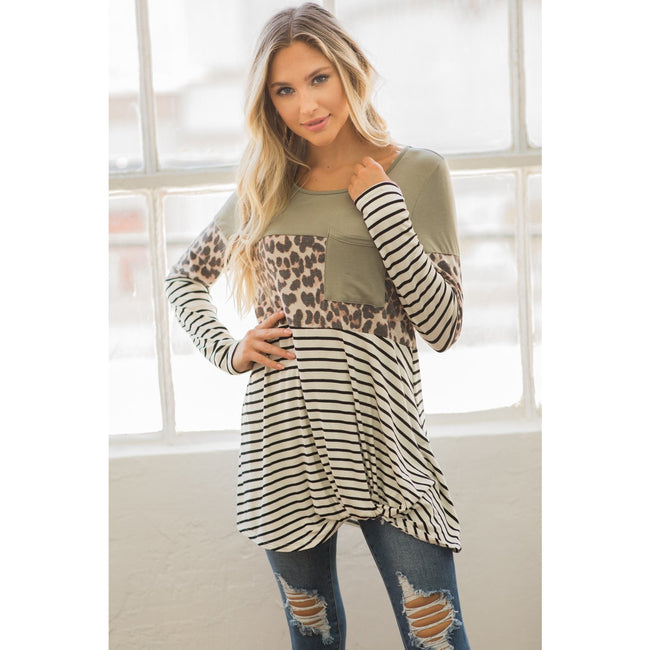 Color Block Striped Leopard Top - aheadofthecurve-gifts