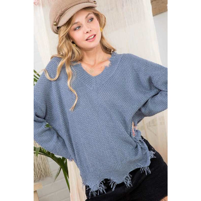 Frayed V Neck Sweater - aheadofthecurve-gifts