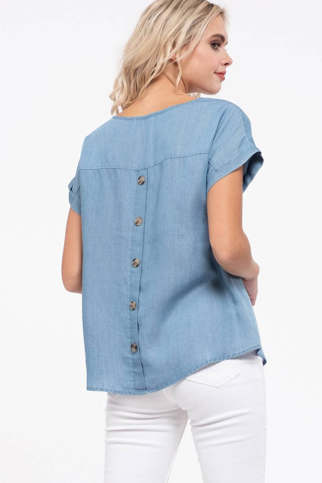 Lace Chambray Top - aheadofthecurve-gifts