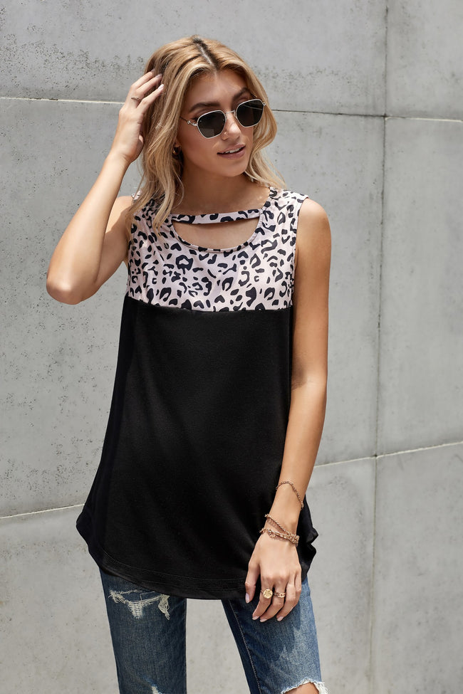 Leopard Solid Black Patchwork Tank - aheadofthecurve-gifts