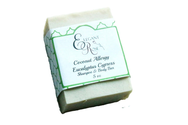 Eucalyptus Cypress #33  Coconut Allergy Soap, Allergen Free Shampoo & Body Bar, No coconut, No Palm
