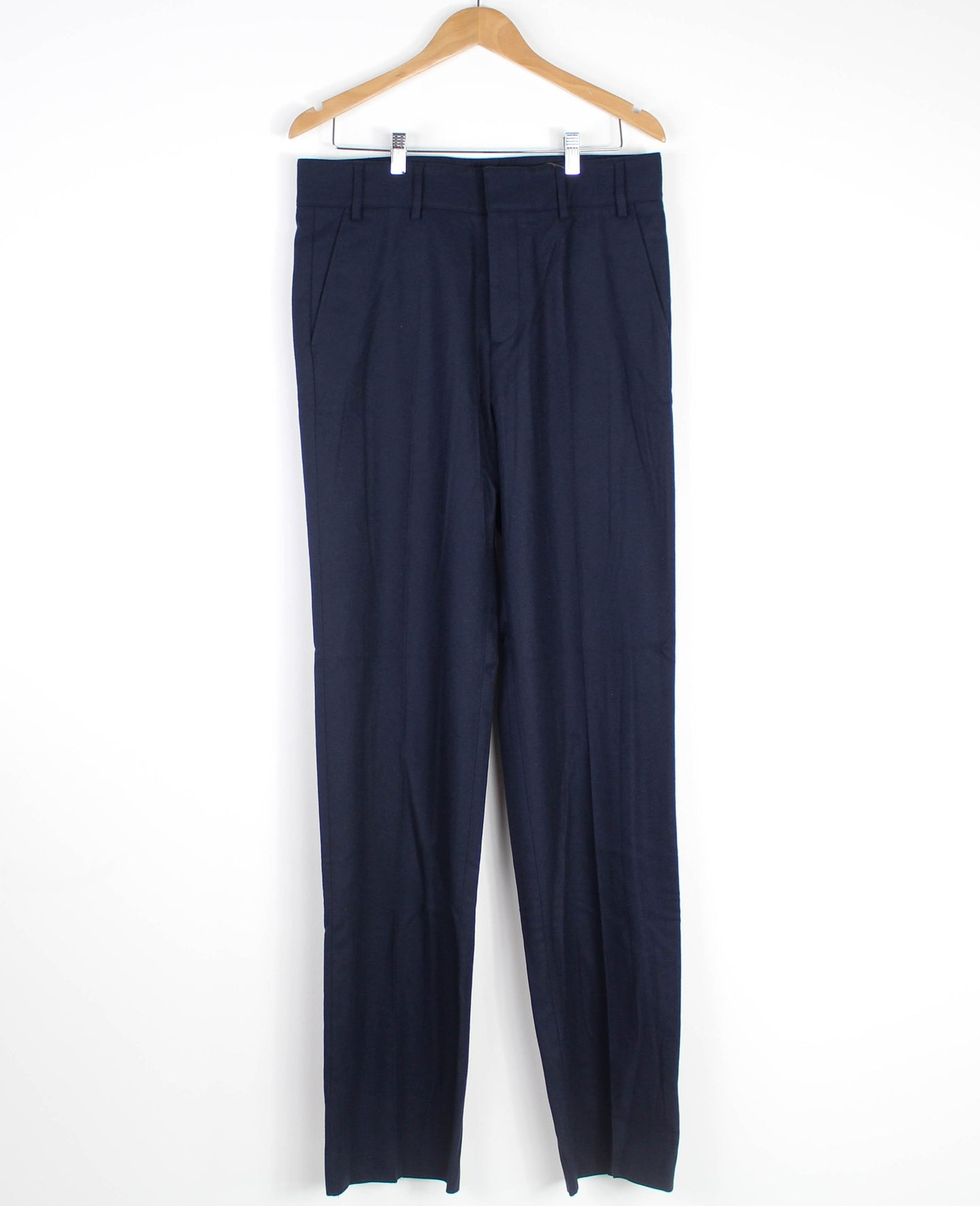 Navy Wool Pleated Trousers