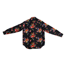 Load image into Gallery viewer, Black KAWS Floral Silk Shirt
