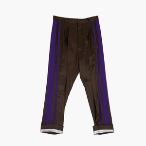 Purple Striped Silk Blend Trousers