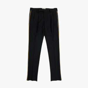 Gold Striped Pleated Trousers