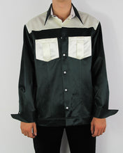 Load image into Gallery viewer, Forrest Green Satin Western Shirt