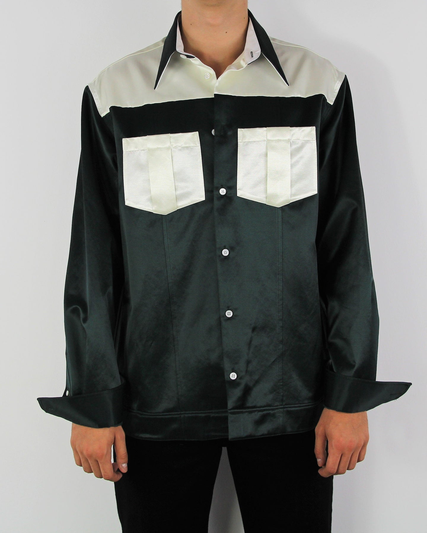 Forrest Green Satin Western Shirt