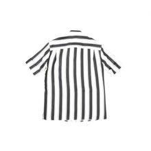 Load image into Gallery viewer, SS17 Black Striped Short-Sleeve Silk Shirt
