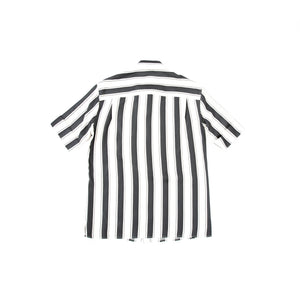 SS17 Black Striped Short-Sleeve Silk Shirt