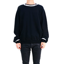 Load image into Gallery viewer, Distressed Black/White Crewneck