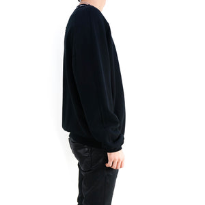Distressed Black/White Crewneck