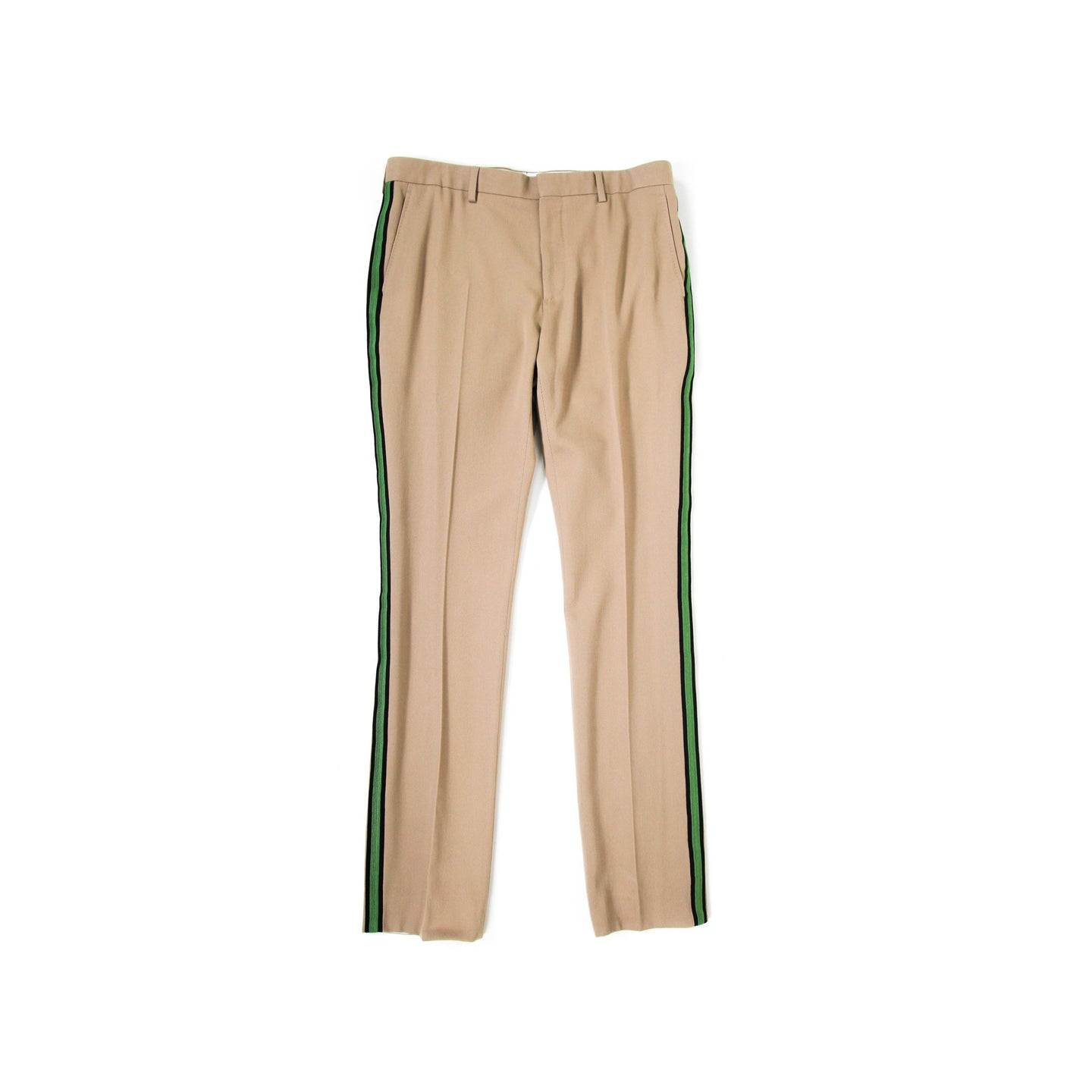 Beige Striped Runway Trousers