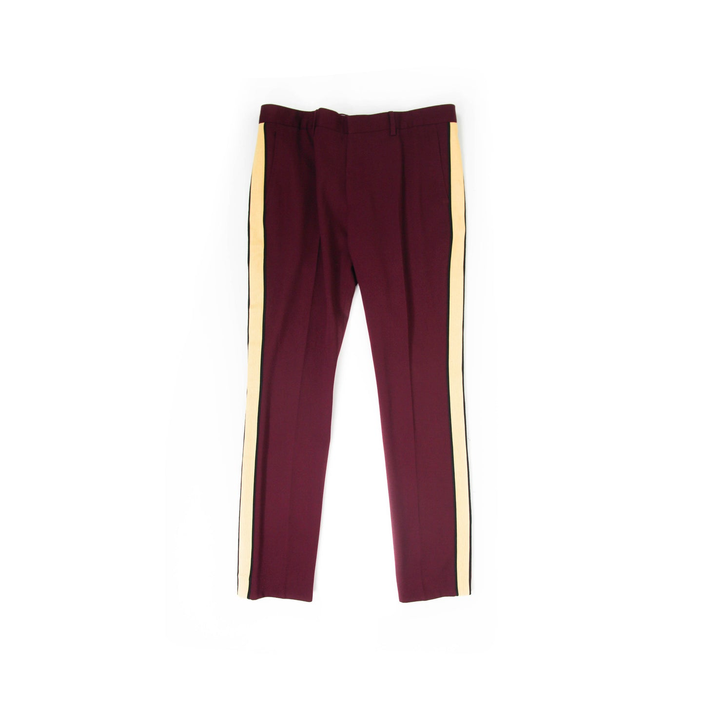 Burgundy Striped Runway Trousers