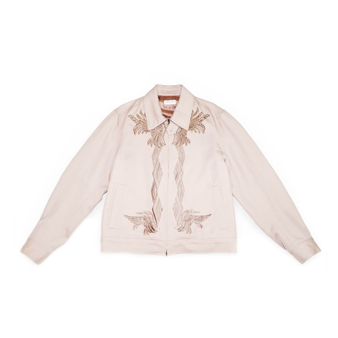 Pale Pink Embroidered Wool Jacket