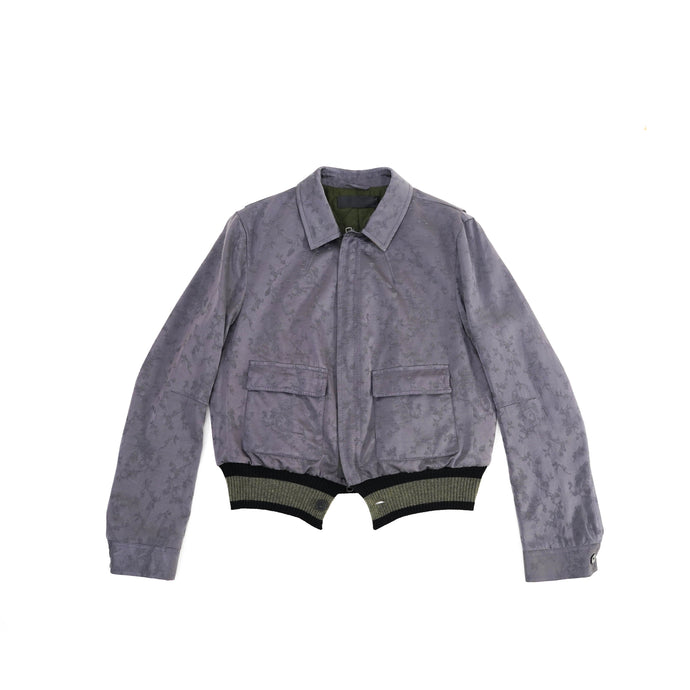 Purple-Grey Floral Embroidered Bomber