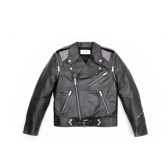Leather Biker Jacket with Metall Insert