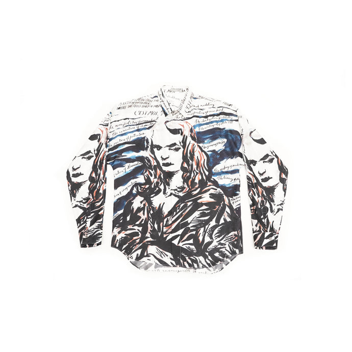Mona Lisa Print Silk Shirt