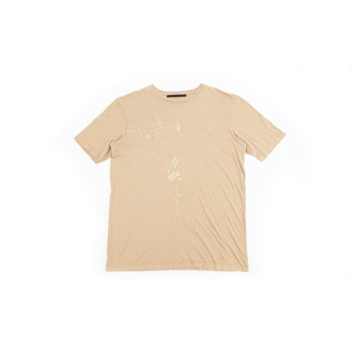 Beige Floral Embroidery T-Shirt