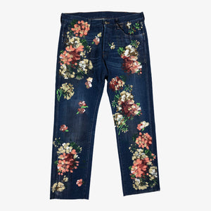 Floral Painted Cropped Denim