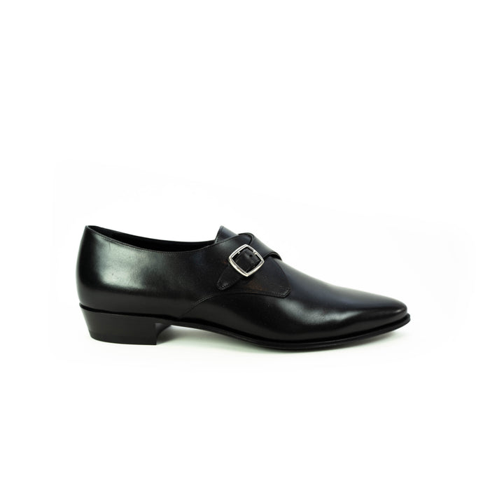 Jacno Black Leather Buckle Loafer