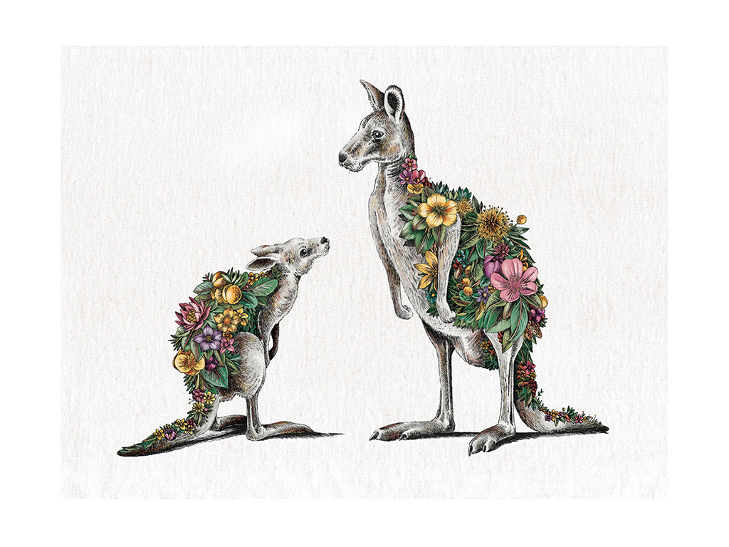 Kangaroo & Joey - Tea Towel