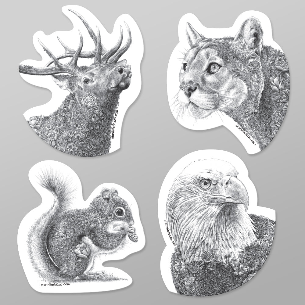 North American Wildlife - Fridge Magnet Set (Mountain)