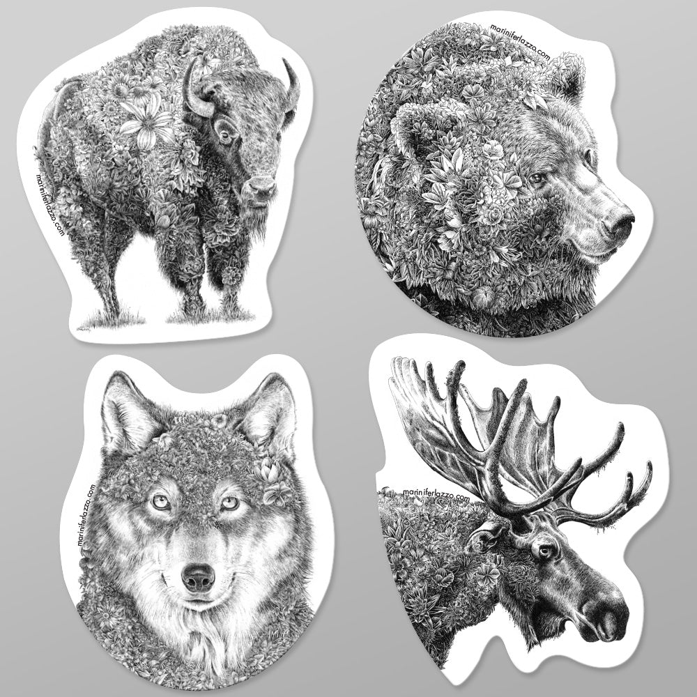 North American Wildlife - Fridge Magnet Set (Forest)