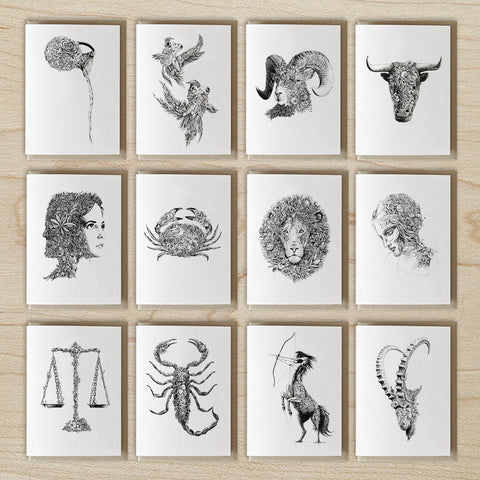 The Twelve Zodiacs - Greeting Card Set