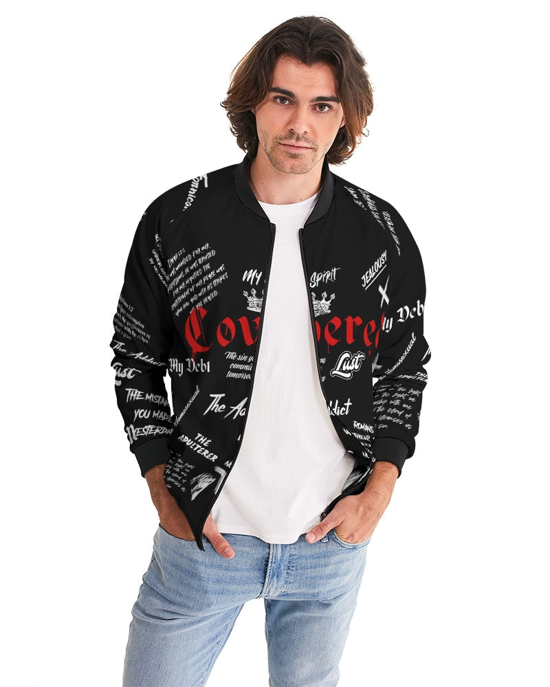 Covered By The Blood Bomber Jacket - Black-Jackets-Equris