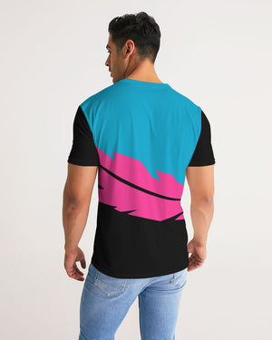 Large Feather - Premium Tee - Electric Blue/ Black / Cyber Pink-T-Shirt-Equris
