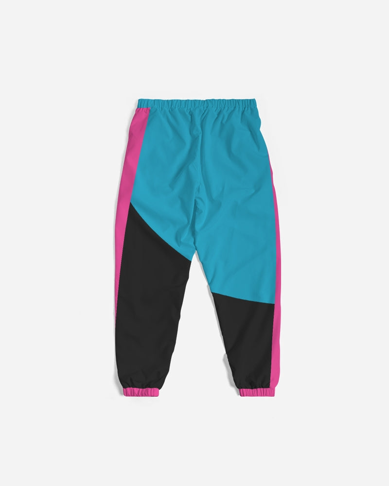 Large Feather - Track Pants - Electric Blue/ Black / Cyber Pink-pants-Equris